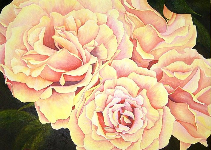 Roses Greeting Card featuring the painting Golden Roses by Rowena Finn