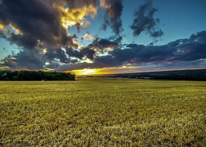 Hampshire Greeting Card featuring the photograph Golden Skies. by Angela Aird