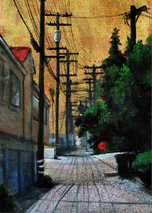 Cityscape Greeting Card featuring the painting Golden Skies No. 3 by Duke Windsor