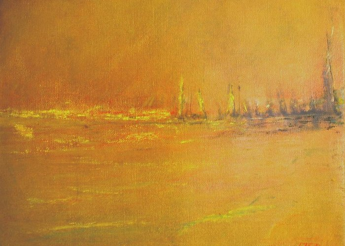 Ships Greeting Card featuring the painting Golden Sky by Jack Diamond