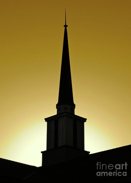 Cml Brown Greeting Card featuring the photograph Golden Sky Steeple by CML Brown