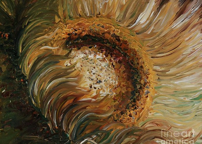 Sunflower Greeting Card featuring the painting Golden Sunflower by Nadine Rippelmeyer