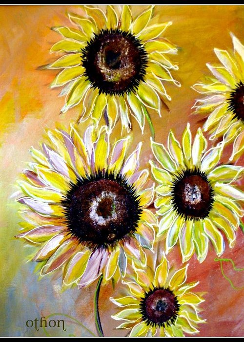 Sunflowers Greeting Card featuring the painting Golden Sunflowers by Kathy Othon