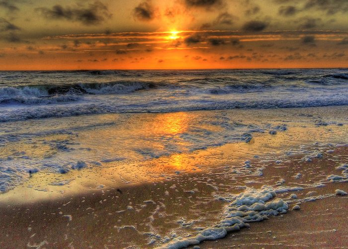 Ocean Greeting Card featuring the photograph Golden Sunrise by E R Smith