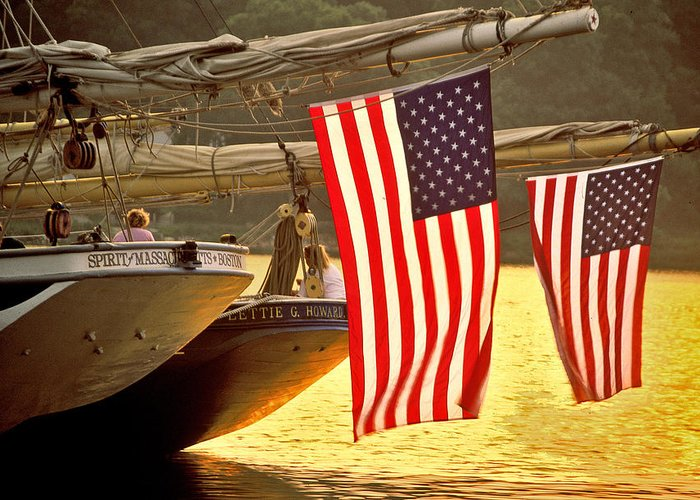 Sunset Greeting Card featuring the photograph Golden Sunset And American Flags by Stephen Sisk