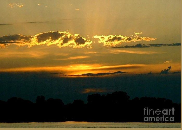 Landscape Greeting Card featuring the photograph Golden Sunset by D Nigon