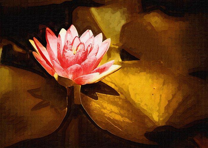 Pink Flower Greeting Card featuring the digital art Golden Swamp Flower by Paul Bartoszek