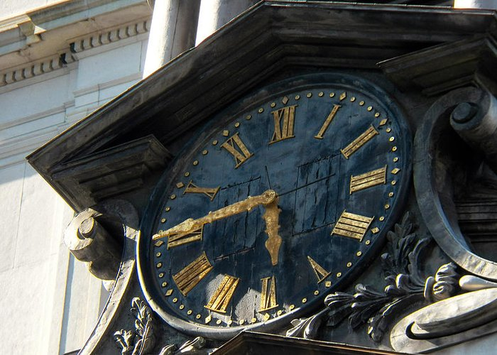 Clock Greeting Card featuring the photograph Golden Time by Bethany Morrow