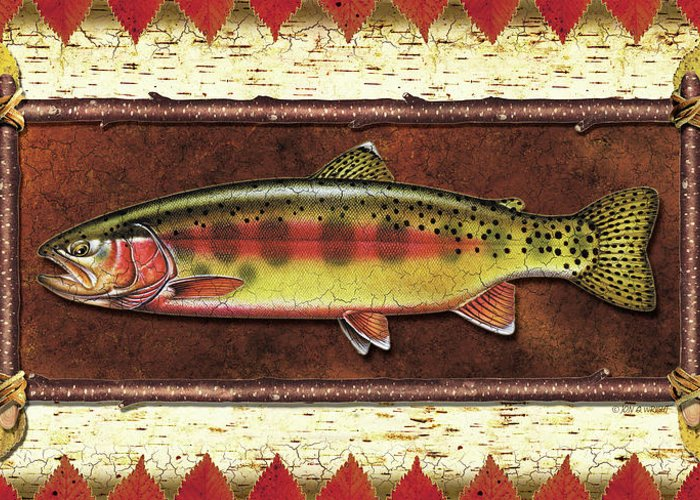 Trout Greeting Card featuring the painting Golden Trout Lodge by JQ Licensing