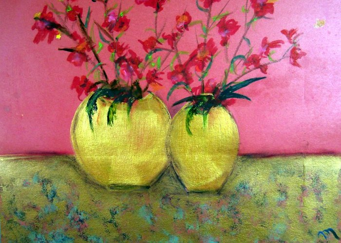 Decorative Greeting Card featuring the painting Golden Vases - Red Blooms by Michela Akers