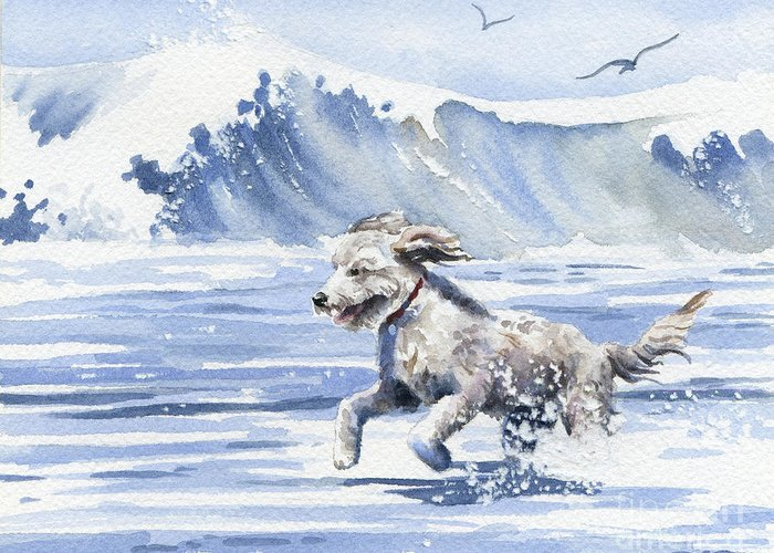 Goldendoodle Greeting Card featuring the painting Goldendoodle At The Beach by David Rogers