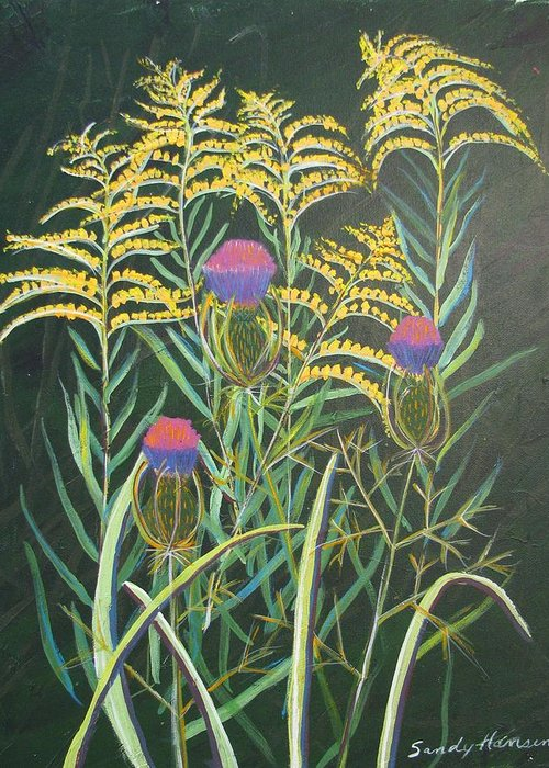 Goldenrod Greeting Card featuring the painting Goldenrod In Summer by Art Nomad Sandra Hansen