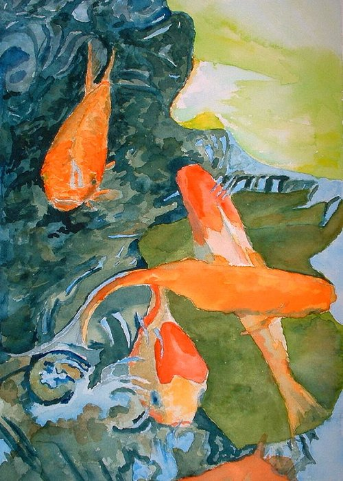 Goldfish Greeting Card featuring the painting Goldface - Watercolor by Donna Hanna