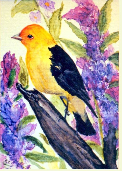Birds Greeting Card featuring the painting Goldfinch by Gail Kirtz