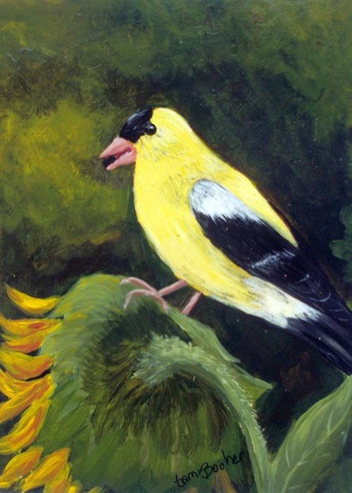 Goldfinch Greeting Card featuring the painting Goldfinch, sunflower by Tami Booher