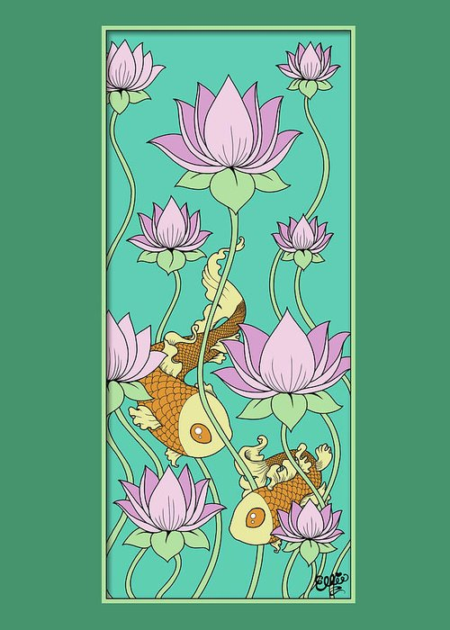 Goldfish Greeting Card featuring the digital art Goldfish And Lotus by Eleanor Hofer