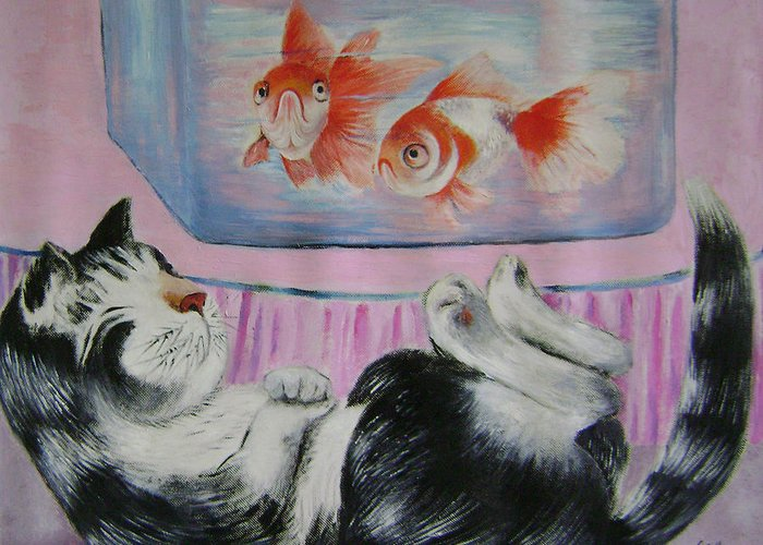 Fantasy Greeting Card featuring the painting Goldfish Dream by Lian Zhen