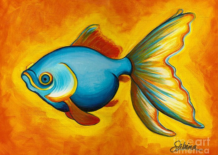 Fish Greeting Card featuring the painting Goldfish by Sabina Espinet
