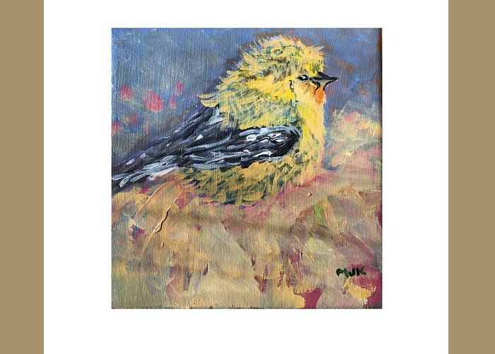 Bird Greeting Card featuring the digital art Goldy by Mary Jo Hopton