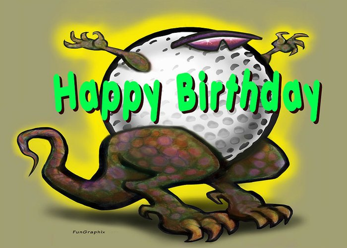 Golf Greeting Card featuring the greeting card Golf A Saurus Birthday by Kevin Middleton