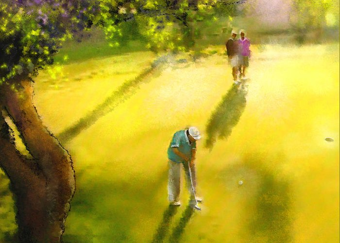 Golf Greeting Card featuring the painting Golf In Spain Castello Masters 01 by Miki De Goodaboom