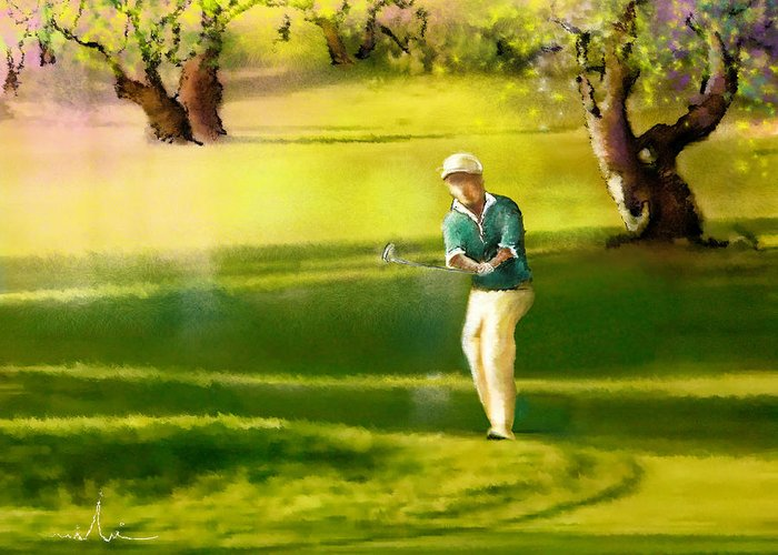 Sports Greeting Card featuring the painting Golf In Spain Castello Masters 02 by Miki De Goodaboom