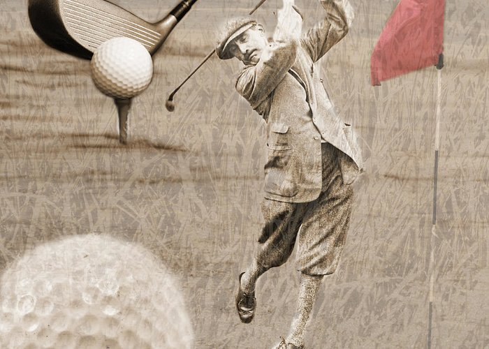 Golf Greeting Card featuring the photograph Golf Red Flag Vintage Photo Collage by Karla Beatty