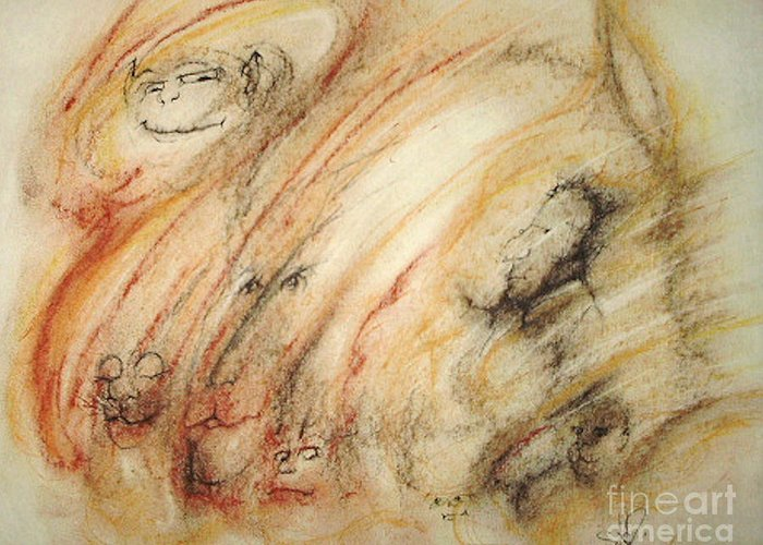Surreal Greeting Card featuring the drawing Gollum Is Watching by Stephanie H Johnson