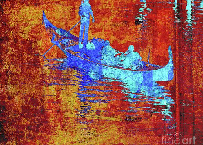 Gondolier Mixed Media Greeting Cards