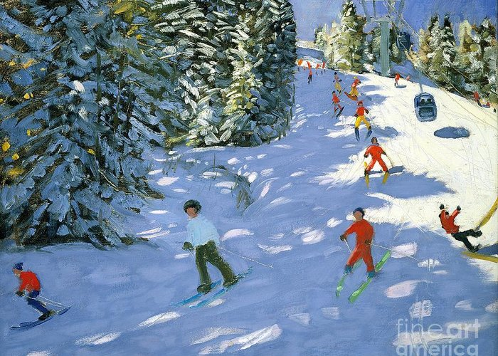 Piste Greeting Card featuring the painting Gondola Austrian Alps by Andrew macara