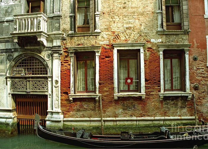 Venice Greeting Card featuring the photograph Gondola In Front Of House In Venice by Michael Henderson