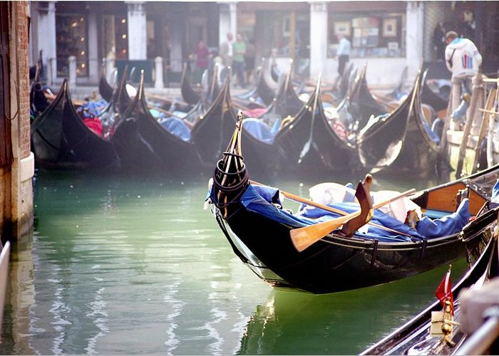 Venice Greeting Card featuring the photograph Gondola In Venice In The Morning by Michael Henderson