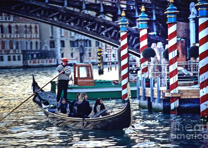 Venice Greeting Card featuring the photograph Gondola In Venice On Grand Canal by Michael Henderson