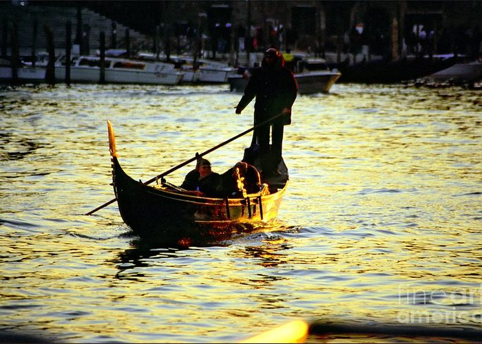 Venice Greeting Card featuring the photograph Gondola Ride At Sunset In Venice by Michael Henderson