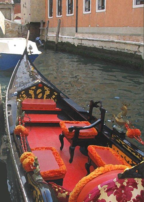 Angelica Dichiara Greeting Card featuring the digital art Gondola Rossa Venice Italy by Italian Art