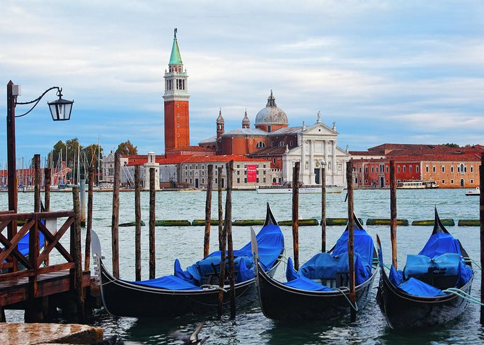 Adriatic Sea Greeting Card featuring the photograph Gondola Station On Grand Canal by George Oze