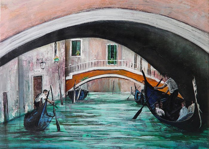 Landscape Greeting Card featuring the painting Gondolas by Angel Ortiz