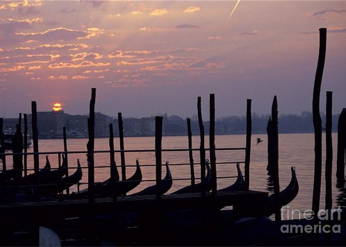 Venice Greeting Card featuring the photograph Gondolas In Venice At Sunrise by Michael Henderson