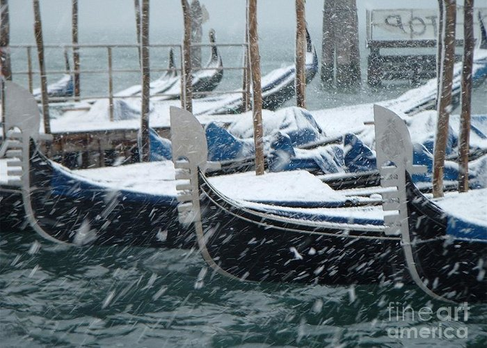 Venice Greeting Card featuring the photograph Gondolas In Venice During Snow Storm by Michael Henderson