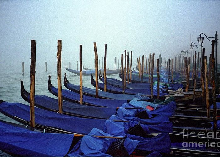 Venice Greeting Card featuring the photograph Gondolas In Venice In The Morning by Michael Henderson