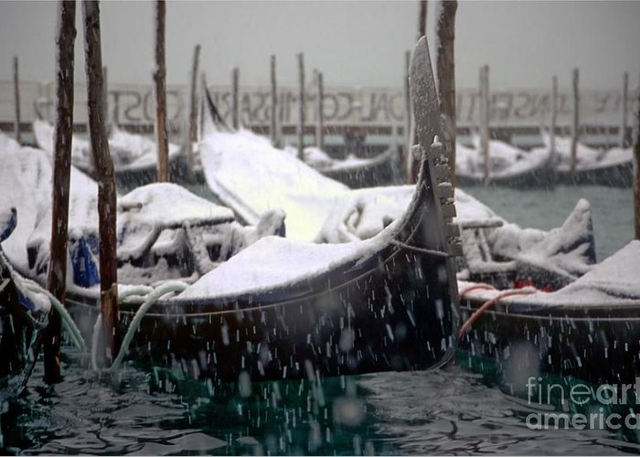 Venice Greeting Card featuring the photograph Gondolas In Venice In The Snow by Michael Henderson