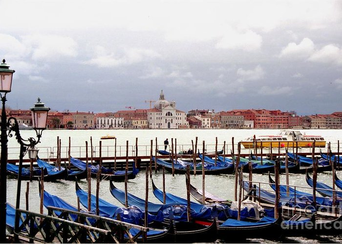 Venice Greeting Card featuring the photograph Gondolas In Venice by Michael Henderson