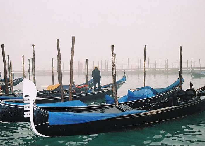 Landscape Greeting Card featuring the photograph Gondolas by Kathy Schumann