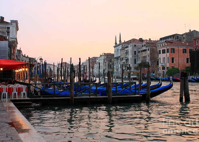 Venice Greeting Card featuring the photograph Gondolas On The Grand Canal In Venice In The Morning by Michael Henderson