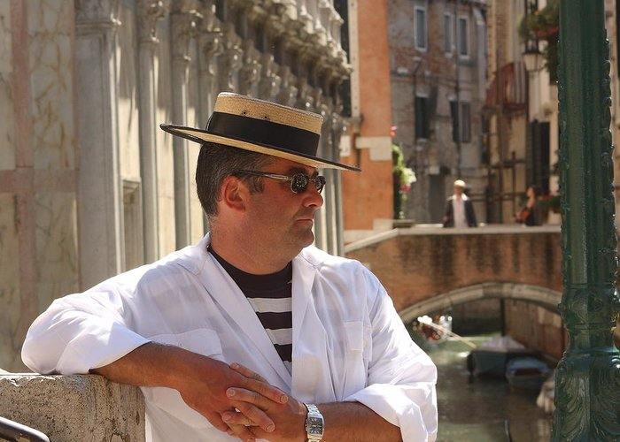 Gondolier Greeting Card featuring the photograph Gondolier In Venice Waiting For A Fare by Michael Henderson