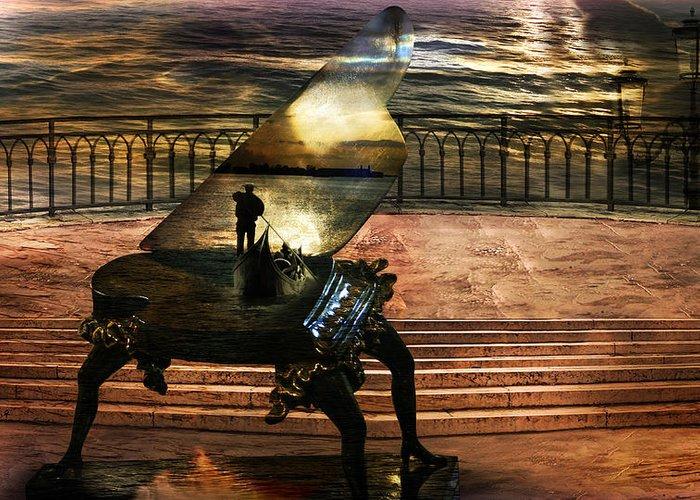 Gondola Piano Spells Journey Surrealism Terrace Gondolier Romantic Sea Red Fantastic Enchanted Alien Greeting Card featuring the photograph Gondolier sonata by Desislava Draganova