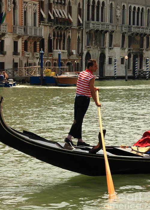 Venice Greeting Card featuring the photograph Gondolier With Matching Socks by Michael Henderson