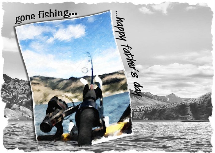 Father's Day Greeting Card featuring the digital art Gone Fishing Father's Day Card by Susan Kinney