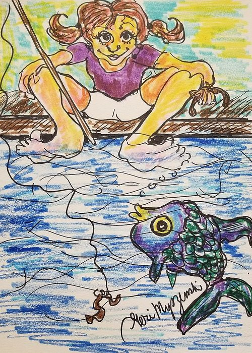Gone Fishing Greeting Card featuring the drawing Gone Fishing by Geraldine Myszenski