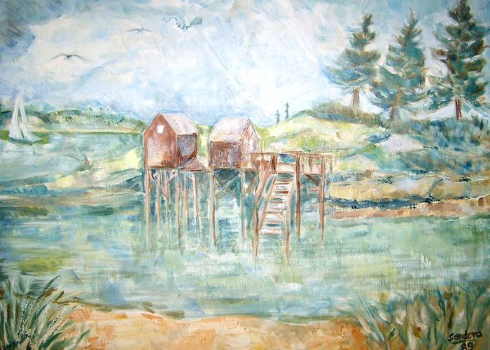 Sea And Land Scape Greeting Card featuring the painting Gone Fishing Rev by Joseph Sandora Jr